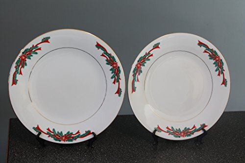Poinsettia & Ribbon Fairfield by Tienshan Dinner Plates 10 1/2