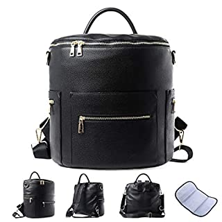 Faux Leather Diaper Bag Backpack with Insulated Pockets Designer, Large Black