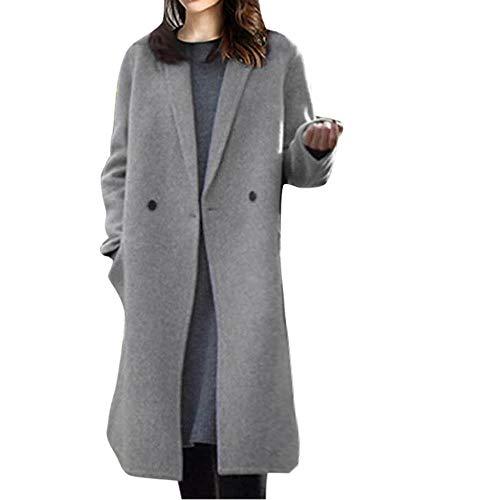 VECDUO Womens Cashmere Woolen Coat, Warm Casual Button Lapel Coat Long Sleeve Winter Fashion Outwear