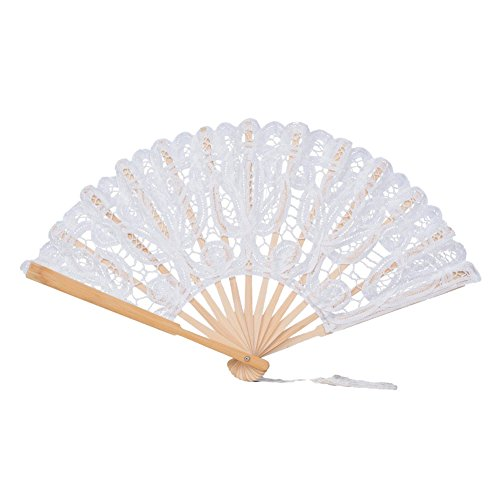 cheerfullus Women Lace Folding Hand Fan Handmade Cotton Lace Handheld Fans for Dancing Cosplay Wedding Party - White ()