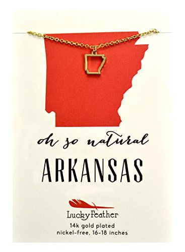 "Lucky Feather State Necklace, 14k Gold Dipped, 16-18"" - Arkansas"
