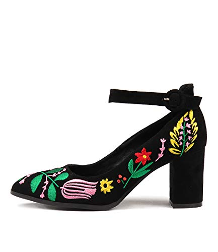 DJANGO & JULIETTE ARIMPLE Womens Shoes High Heels Sandals BLACK BRIGHT EM SUEDE