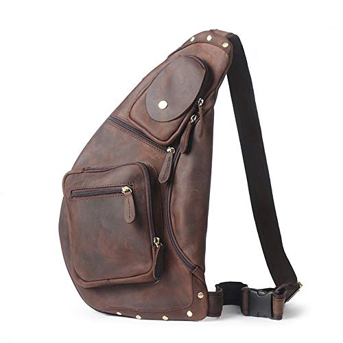 Shoulder Men's Travel Men Waterproof Outdoor Bag Sling Chest Backpack Women Casual Leather Sports for Messenger Ybriefbag Bag Crossbody Bag w8zqAXx