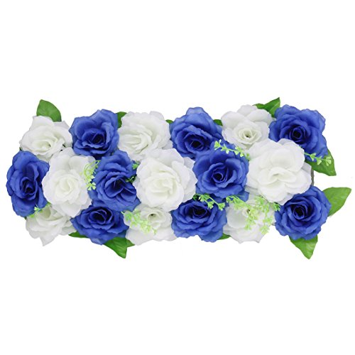 uxcell Fabric Wedding Party DIY Wall Arch Hanging Artificial Flower Garland Decor Royal Blue (Garland Wedding Arch Decor)