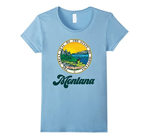 Womens I Love Montana Home Tshirt Montana State Home Tee Medium Baby Blue