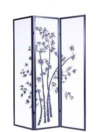 roundhill furniture 3panel oriental shoji room divider screen black
