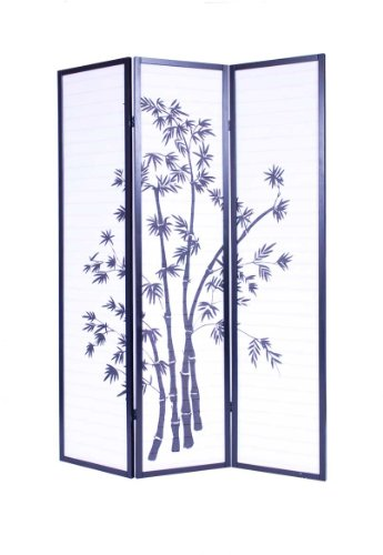 Roundhill Furniture 3-Panel Oriental Shoji Room Divider Screen,