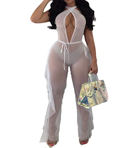 (Women See Through Sheer Mesh Bandage Two Piece Bikini Cover Up Hoodie Crop Tops and Legging Pants (XL, White-Jumpsuits))