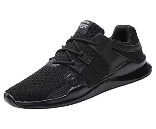 ECOTISH Men's Casual Breathable Sports Shoe Athletic Lace Up Fashion Sneakers Lightweight Running Shoe Black VqIU3OVYW8