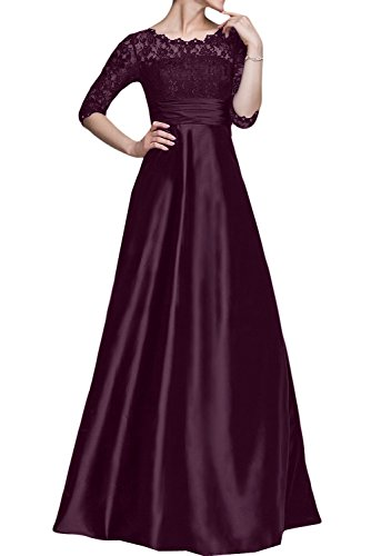 - DressyMe Women's Long Party Dresses Prom Gown 1/2 Sleeves Round-Neck Empire-Waist-2-Grape