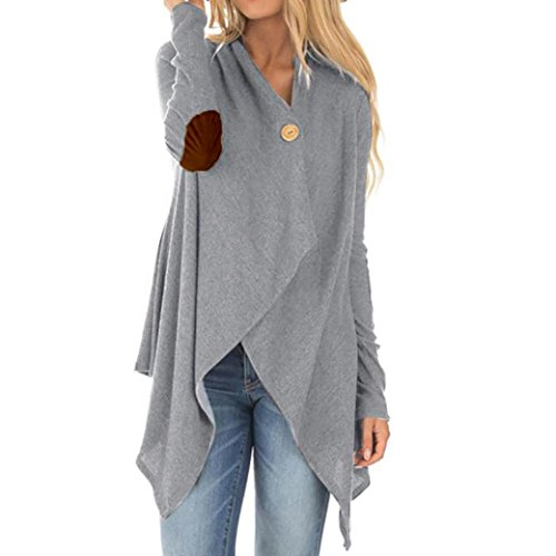 2017 Hot Sale Women Long Sleeve Patchwork Cardigan Irregular Open Front Outwear Coat (Gray-A, (Cashmere Slacks)