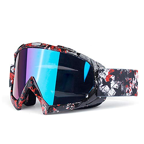 (June Sports Motorcycle Motocross Goggles Men Women Youth Kid MX Racing Goggle Dirtbike Off Road Safety Glasses Cycling Motorbike Goggles Skiing Adjusted Strap Red Black-Blue Lens KG31)