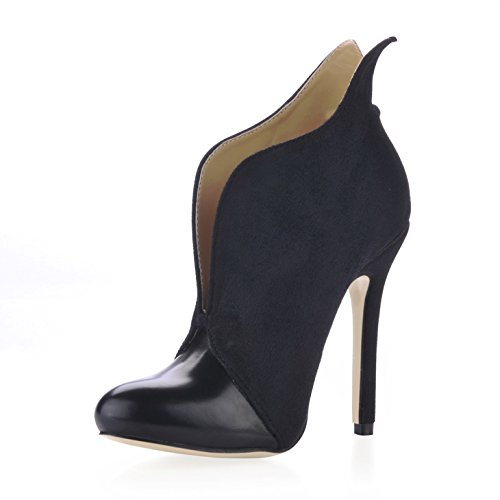 Short and boots the girl winter new products to market OL round head and the ankle shoes black high-heel shoes Black kcNq9TP
