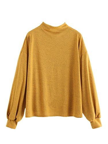 Mock Neck Womens Sweater (MAKEMECHIC Women's Lantern Sleeve Mock Neck Knit Sweater Sweatshirt Pullover Top Yellow M)