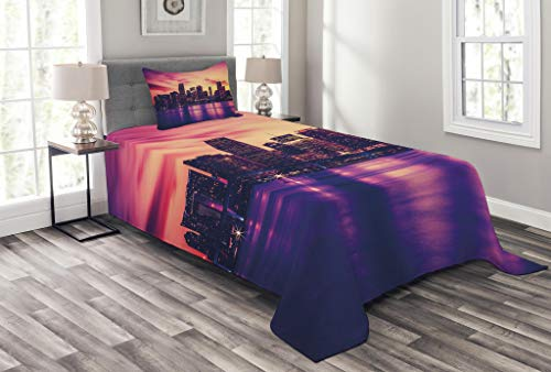 Lunarable United States Bedspread Set Twin Size, View Miami at Sunset Building Urban Modern City Life Ocean Skyline, Decorative Quilted 2 Piece Coverlet Set Pillow Sham, Purple Pink Peach