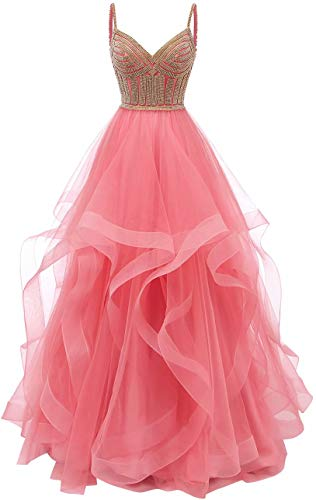 Lilibridal Tulle Crystal Beaded Prom Dresses Tiered Formal Evening Dresses Spaghetti Strap Ball Gown(Pink 12) ()