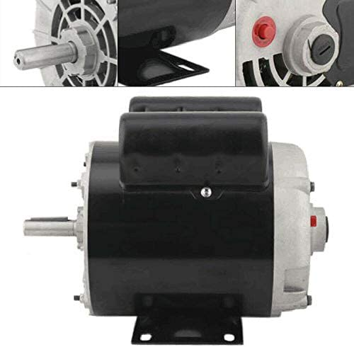 """41Gr8OwoV5L. AC Air Compressor Electric Motor 2 HP SPL 3450RPM Single Phase Electric Air Compressor Motor 120V/240V 56 Frame 5/8"""" Shaft    Specifications:【HIGH QUALITY MATERIAL】Air Compressor Electric Motor, made of high quality steel, rigid base, mounting bracket included, able to withstand harsh industrial applications. Equipped with UL approved manual thermal overload, capacitors and high quality ball bearings to ensure the lifetime.【POWERFUL AC MOTOR】Powerful AC motor, high starting torque, reduced starting amperage design to ensure the reduced voltage starting at rated load. Manual overload protection, totally enclosed fan, lubricated with low temperature grease. (Air Compressor Electric Motor, 2HP, SPL, 3450RPM, 56 Frame, 120V/240V, 15/7.5Amp, 5/8"""" Shaft, Single Phase.)【MAIN PARAMETERS 1】Power: 120V/240V 2HP; Speed: 3450RPM; Frequency: 60HZ; AMB 40°C; Frame: 56; Duty: Cont. Compressor; Service Factor: 1.0; Full Load Amps: 15/7.5; NS.CL: F; Single Phase; Open Drip Proof (ODP) Enclosure; Non-Reversible, CCW Rotation Facing Shaft; Thermally Protected; Manual Reset Overload Protection.【MAIN PARAMETERS 2】Overall Length W/O Shaft: 9.75""""; Overall Length With Shaft: 12.3""""; Overall Height: 8.5""""; Overall Width: 6.35""""; Shaft Diameter: 5/8""""; Shaft Length: 2.55""""; Standard Size Keyway: 3/16""""; Package size: 14'' x 11'' x 8''; Shipping weight: 25lb.【SPECIAL DESIGN】Open drip-proof is better used in environment that are relatively clean and dry environments. Special design for air compressor duty. Motor is non-reversible CCW(counter clockwise) only. (Default settings are default low-voltage current. If the need to use high-voltage current, please replace the use of high voltage wiring.)"""