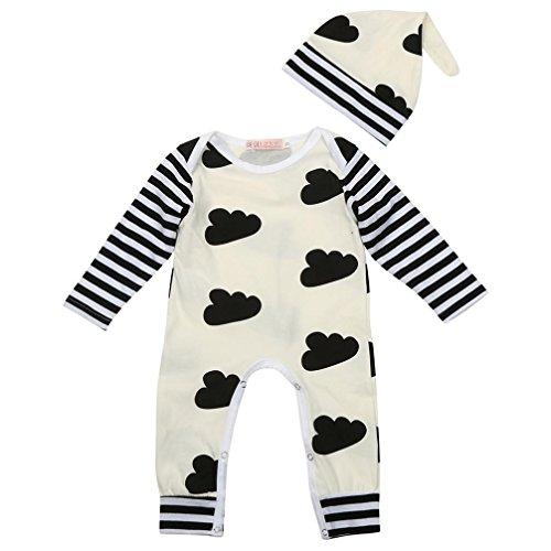Bekleidung Longra Baby junge Mädchen Kleidung mit hute Langarm Overalls Winter Baumwolle Romper Strampler (70)