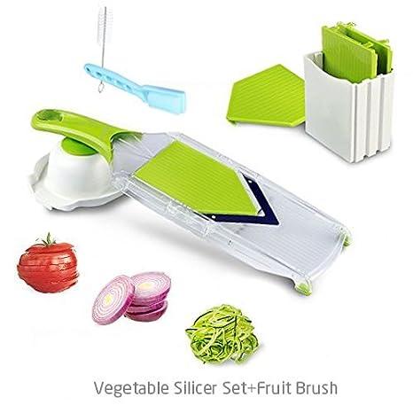 KEYNICE Mandolinas funcionales y versátiles con Forma 4 V Cuchillas de Acero Inoxidable y un Protector para cebollas/Tomates/Zanahorias/Patatas-Blanca