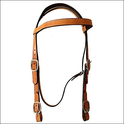 HILASON WESTERN LEATHER DRAFT HORSE BRIDLE HEADSTALL W/ REINS TAN
