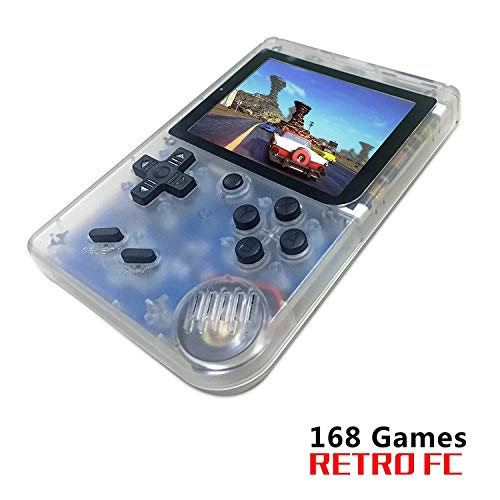 FLYFISH Handheld Game Console, Retro FC Game Console 3 Inch 168 Classic Games , Birthday Present for Children -Transparent White (Best Games Console For 7 Year Old 2019)