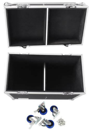 ProX X-QSC-K8 Black Hard Travel Flight Case For 2 QSC K8 8'' DJ Speakers W/Wheels by TOV