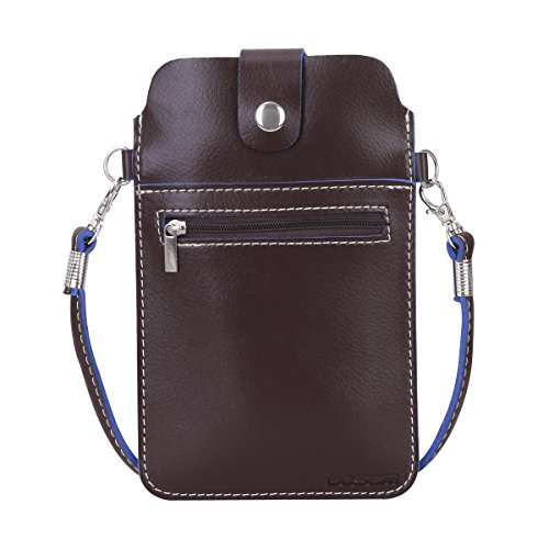 PU Leather Cellphone Pouch,iPhone Purses Crossbody case with Strap for Girls Woman(Large Brown) ()