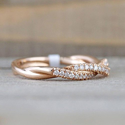 Ring Sterling Silver,Womens 2-in-1-Solid Rose Gold White -Zirconia Ring Set Rongs thumb Jewelry Under 50 Eings Wedding Ring Engagement Rings Belly Button (RG8) ()