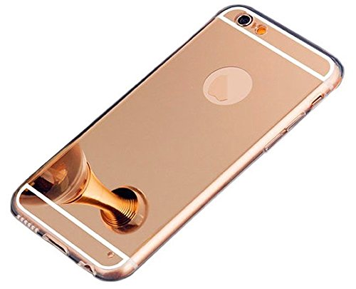 iPhone 6S Plus Rose Gold Mirror Case,iPhone6S Plus Mirror Rose gold Case, Slim Luxury Hybrid Glitter Bling Mirror Soft TPU Cover Case for iPhone 6sPlus and 6Plus (Rose Gold)
