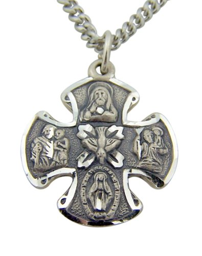 Sterling Silver 3/4-Inch 4 Way Holy Dove Maltese Cross Medal Pendant