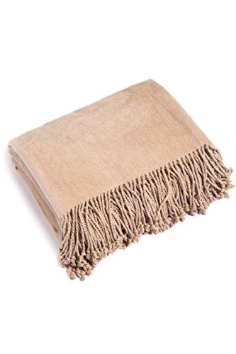 (Fishers Finery Micro Velvet Fleece Throw Cozy Blanket; Gift Box Included (Sand))