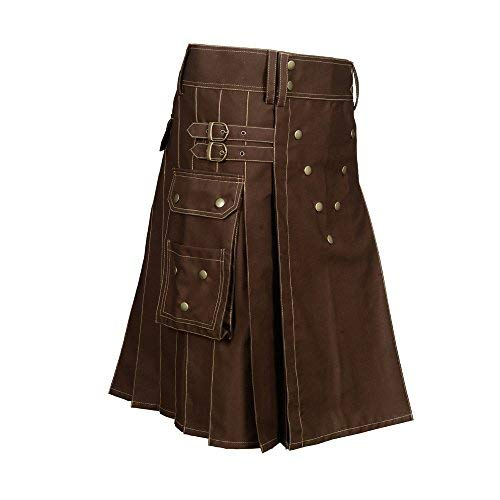 Scottish Designer Brown Utility Kilt (Belly Button Measurements 36)