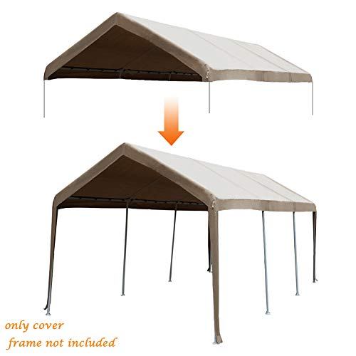 Abba Patio 10 x 20-Feet Carport Replacement Top Canopy Cover for Garage Shelter with Ball Bungees, Beige (Frame Not Included)