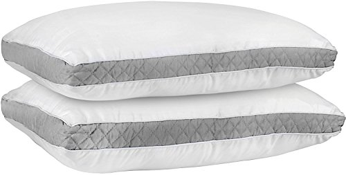 Back 2 Bed - Utopia Bedding Gusseted Quilted Pillow (King 18 x 36 Inches, Grey) Set of 2 Premium Quality Bed Pillows for Side and Back Sleepers with Grey Gusset