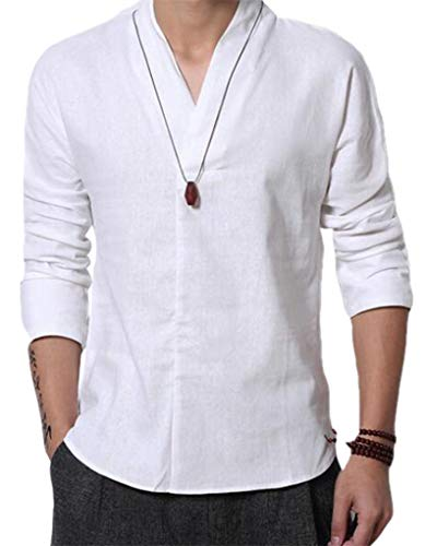 Cafuny Mens Long Sleeve V Neck Natural Linen Popover Shirt Casual Henley T Shirt Top XS White -