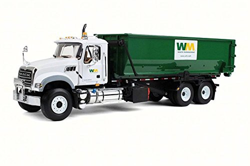 Collection Garbage Management Waste (First Gear Mack Granite with Tub-Style Roll-Off Container, White & Green 10-4050 - 1/34 Scale Diecast Model Replica)