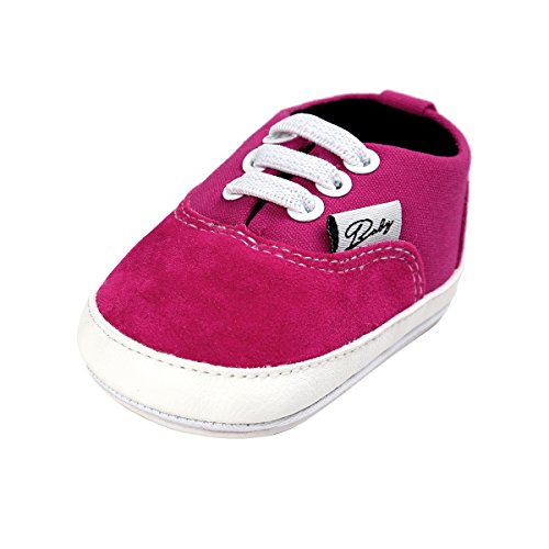 (BENHERO Baby Boys Girls Canvas Toddler Sneaker Anti-Slip First Walkers Candy Shoes 0-24 Months 12 Colors (12-18 Months M US Infant), Aa-Rose)