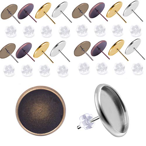 Round Setting Cabochon - Jdesun 40 Pieces Cabochon Earring Settings with 40 Pices Rubber Backs, Stainless Steel Stud Earring Cabochon Setting Post Cup Fit for 10mm (4 Colors)