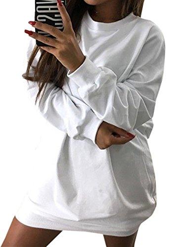 Tinta Mini Unita Lunga Tunica Fashion Donna Moda Maglione Lunga Quotidiani Manica Felpe Pullover Autunno Collo Casual Jumper Inverno Bianca Partito Rotondo da Sweater Vestiti Simple Maglieria e x8gPqgz