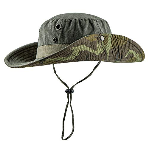 HH HOFNEN Fishing Sun Boonie Hat Wide Brim Breathable Washed Cotton Outdoor Hunting Safari Bucket Hat for Men Women Army Green