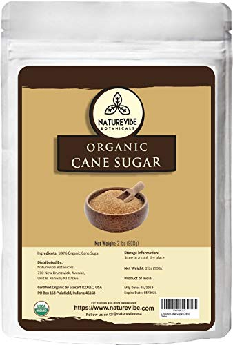 Flavored Cane Sugar - Naturevibe Botanicals Organic Cane Sugar, 2lbs   Non-GMO and Gluten Free   Naturally Flavored