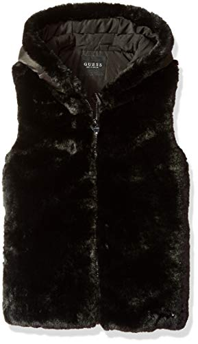 GUESS Girls' Big Faux-Fur Zip Up Hooded Vest, Jet Black a 10 (Guess Zip Up Jacket)