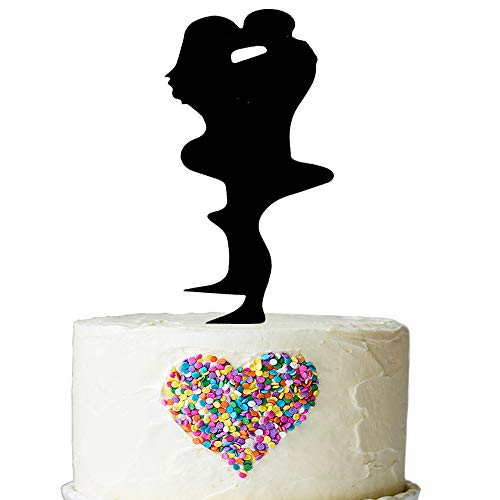 Passionate Couple Embrace kiss Silhouette Cake Topper - The Groom Picked Up the Bride Wedding Cake Toppers - Kissing Bride Groom Engagement Cake Decoration