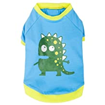"Blueberry Pet Alien the Dinosaur Cotton Dog T Shirt in Blue , Back Length 10"", Pack of 1 Clothes for Dogs"