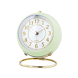 Autumn Alarm Clocks Battery Operated Loud Home Table Clock with Nightlight (Green)