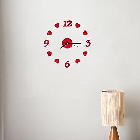 CaseFan Reloj 3D Acrílico sin marco DIY Art Love Dots Reloj de Pared para Salón Dormitorio Decoración Fresca Rojo: Amazon.es: Hogar