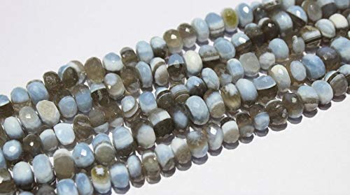 Natural Blue Grey Bi Color Opal Faceted Roundle Shaped Briolette Beads Size 9 mm to 10.5 mm 8