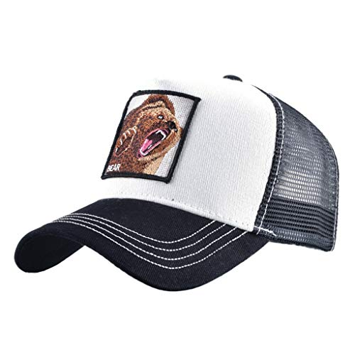 Unisex Animal Mesh Trucker Hat Strapback Square Patch Baseball Caps (One Size, Black White Bear)