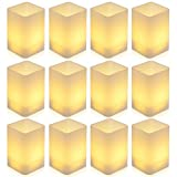 [Cuboid Version] PChero 12pcs Battery Operated LED Warm White Flameless Tea Lights Candle with Cups for Birthday Wedding Party Festival Decor