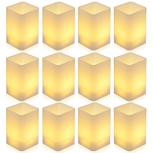 [Cuboid Version] PChero 12pcs Battery Operated LED Warm White Flameless Tea Lights Candle with Cups for Birthday Wedding Party Festival Decor by PChero